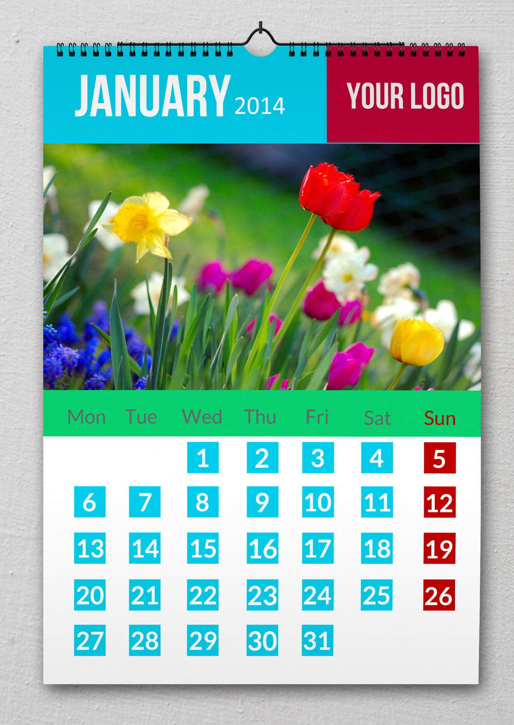 Latest Wall Calendar Design : Wall calendar design with psd file by redfoxmag on