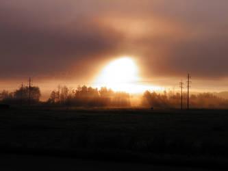 Foggy Morning Sunrise by Jenna-Rose