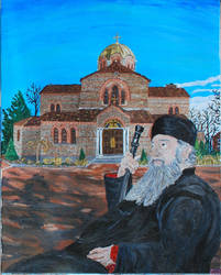 Portrait of Old Priest Misplaced in Time