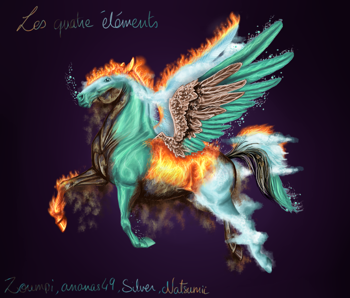 Four Elements Watercolour Artist Tuffytats: Four Elements In One Pegasus By Ananas49 On DeviantArt