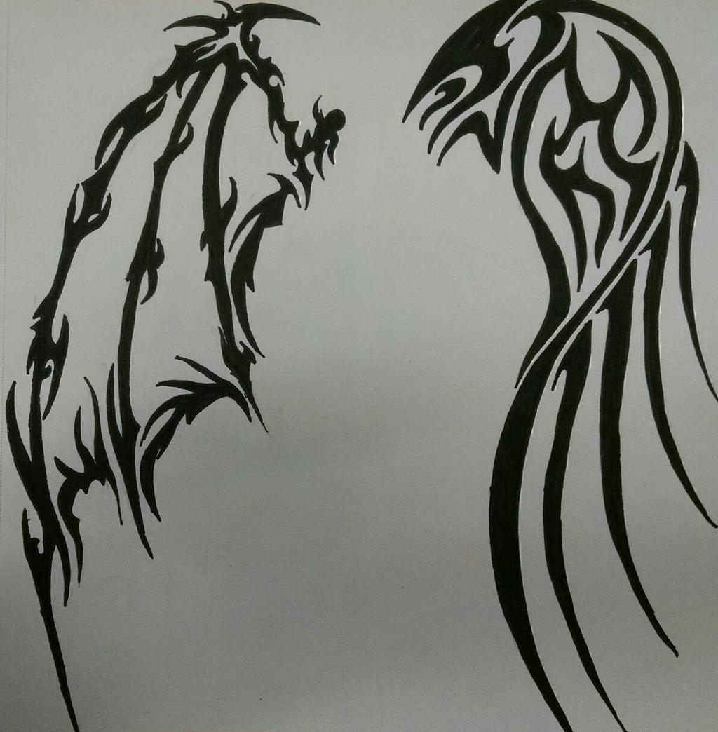 tribal angel and demon wings by violetsilverfang on deviantart. Black Bedroom Furniture Sets. Home Design Ideas