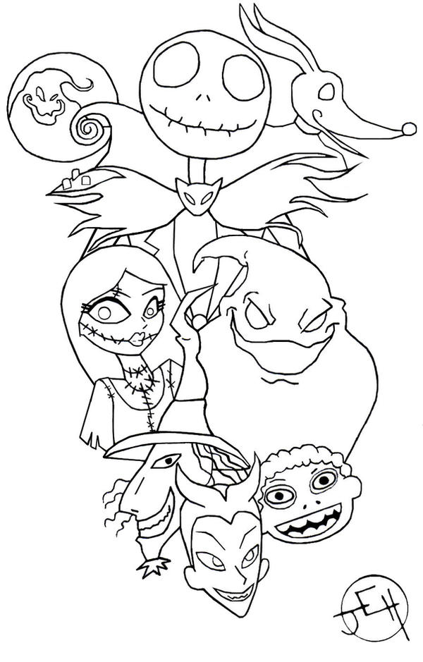 jack and sally coloring pages - nightmare before christmas tat by midniteoil burning on