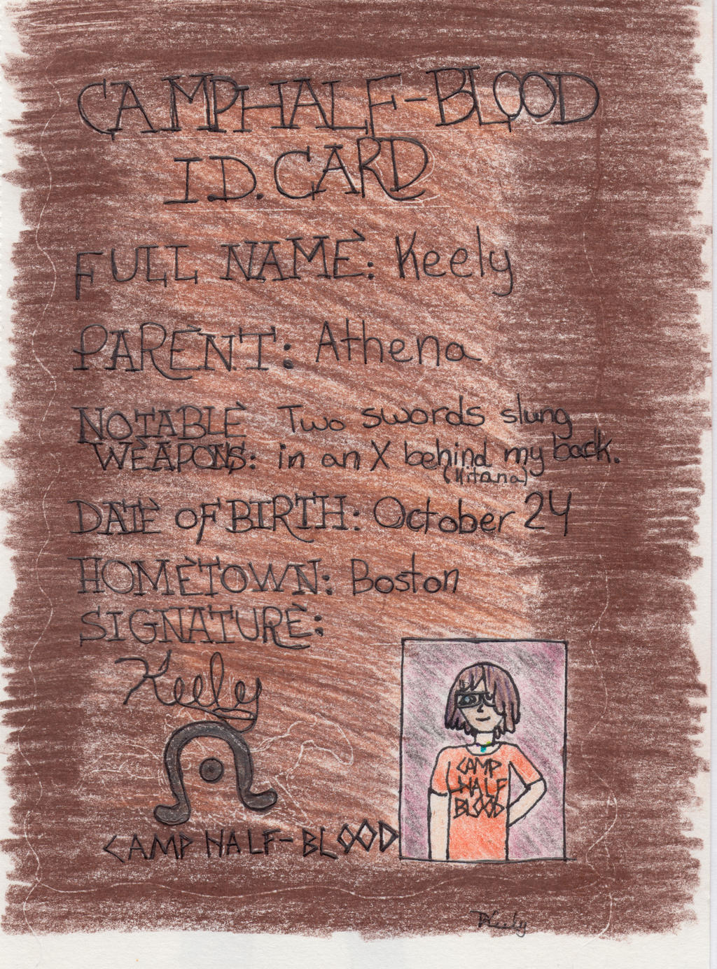 Camp Half-Blood ID Card by Keely-Z