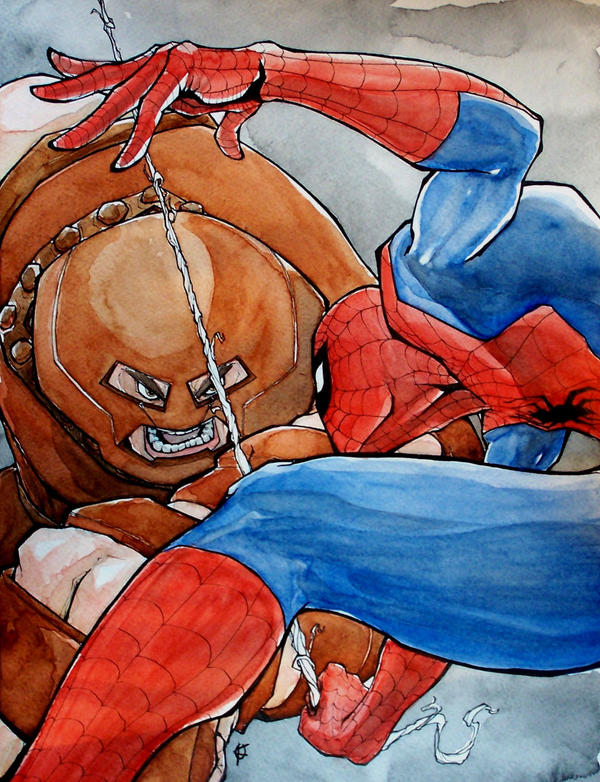 Spiderman vs. Juggernaut by mjfletcher