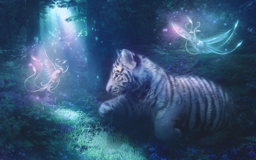 White Tiger Cub and Phoenixes