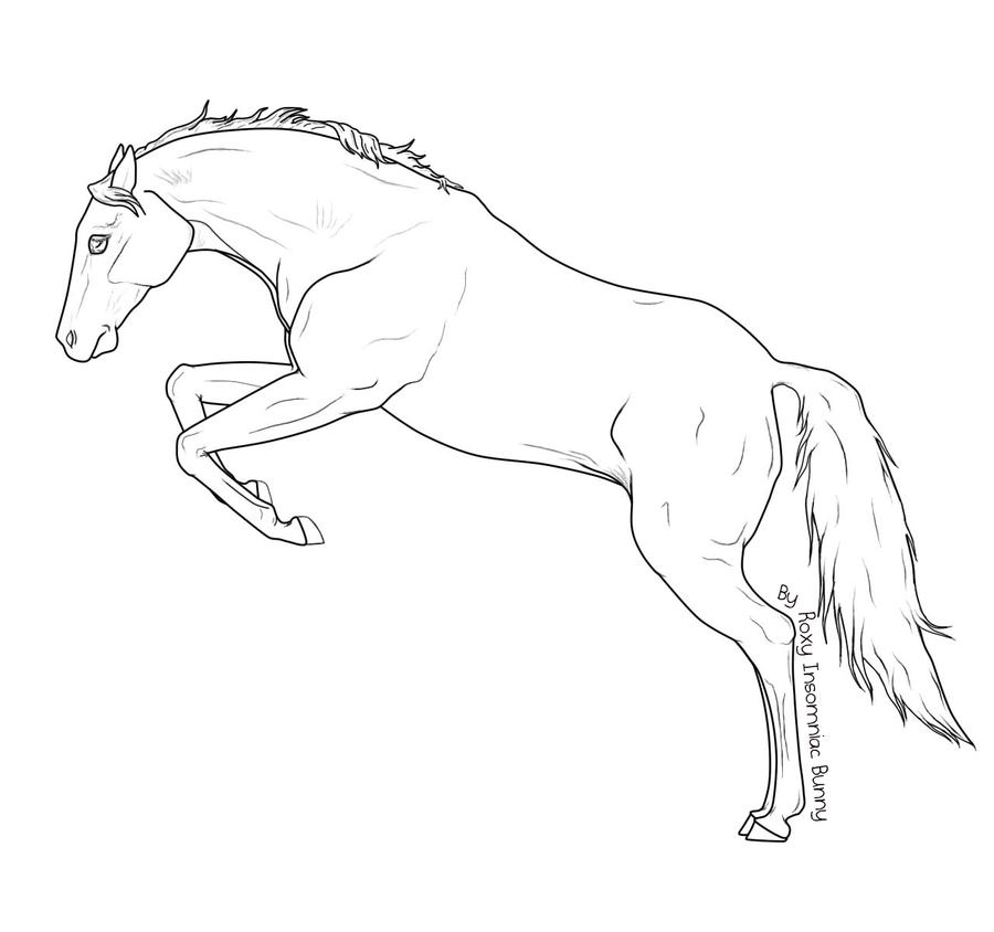 Jumping Horse Lineart by RoxyInsomniacBunny on DeviantArt