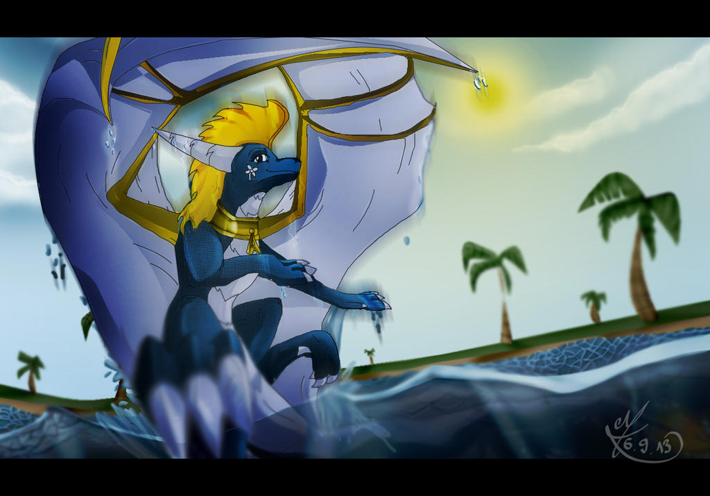 April surfing through the waves by TheDragonCat