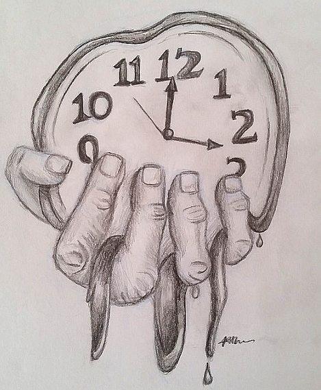 how to draw a melting clock