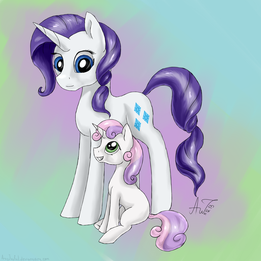 Sisters: Rarity and Sweetie Belle by ArtyJoyful