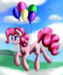 Pinkie Pie flying in the sky!