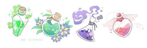 Potion Bottles [SPEEDPAINT] by ABD-illustrates