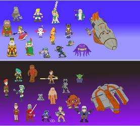 RPG characters pixelated