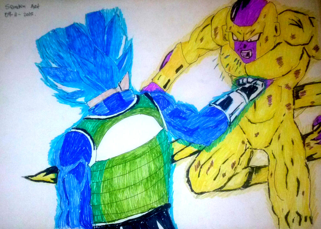 Dibujo De Vegeta Ssj Dios Azul VS Golden Freezer By
