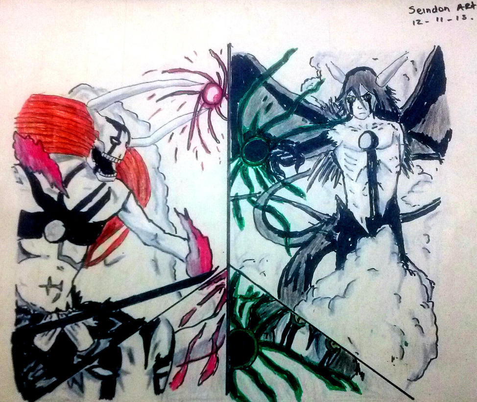 dibujo de ichigo hollow vs ulquiorra segunda forma by