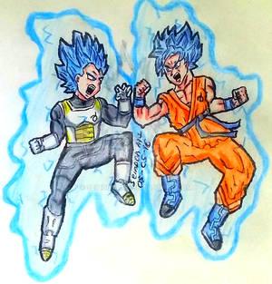 Goku SSGSS vs Vegeta SSGSS - Dragon Ball Super