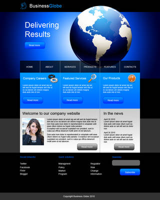 Dark blue web template by Player-Designer