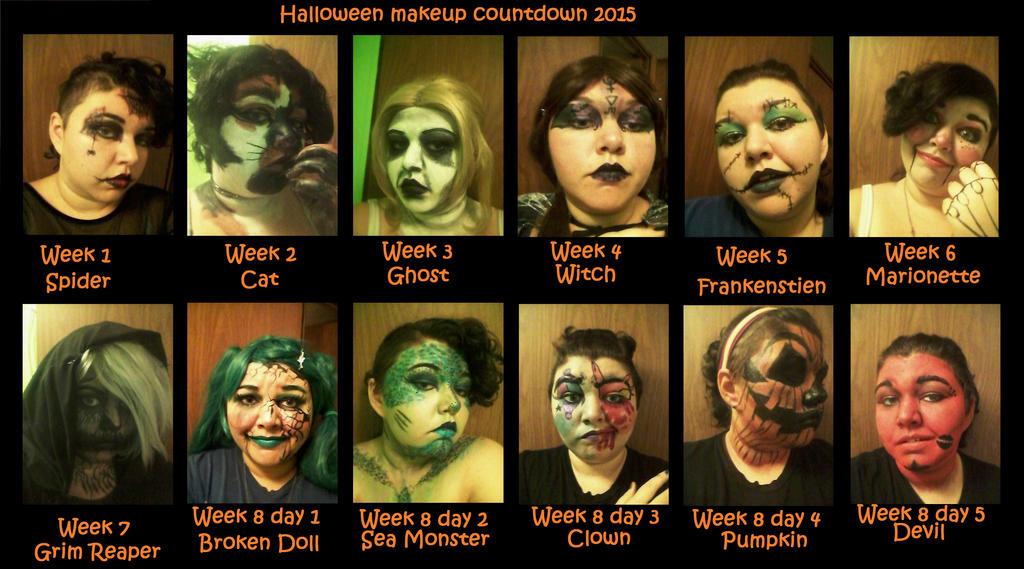Halloween makeup countdown 2015 by blackwingingit