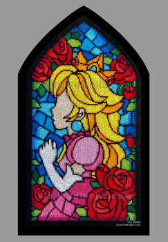 Princess Peach Stained Glass Window Cross-stitch