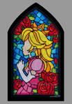 Princess Peach Stained Glass Window Cross-stitch