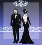 John + Ophelia Elegant Black - Modern AU by RedPassion