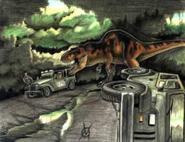 t.rex attack an oldie