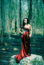 Red dress in Forest by PantyhoseGirl111