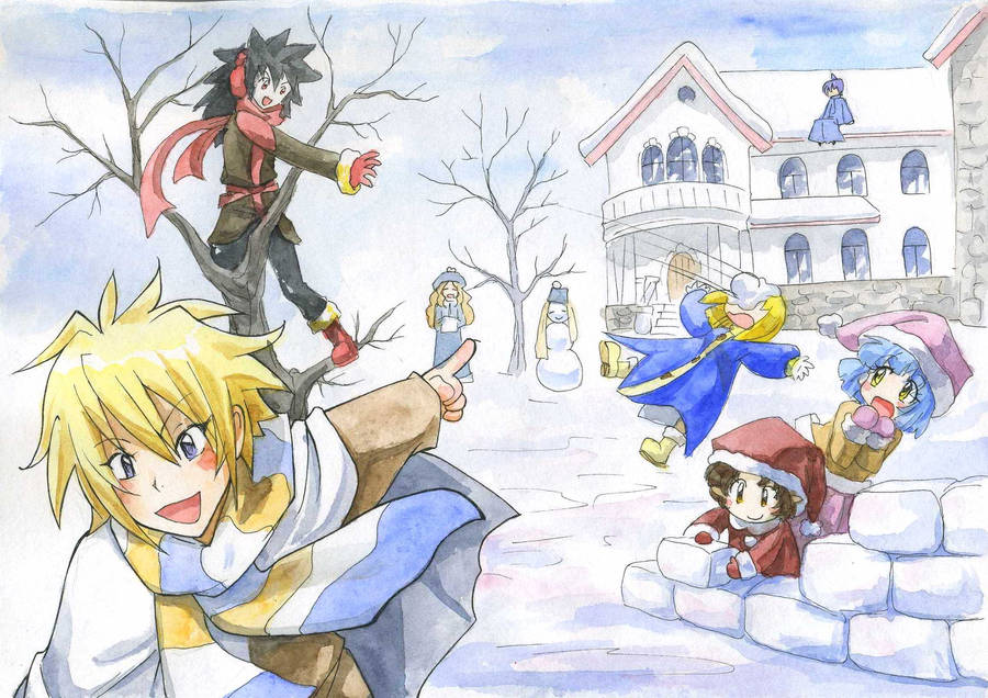 OC Snow Battle by TomoeOtohime