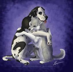 Dog Hug - Commission by KeksWolf