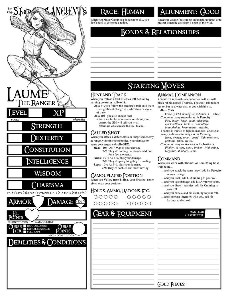 Pathfinder Character Sheet Ranger - 0425