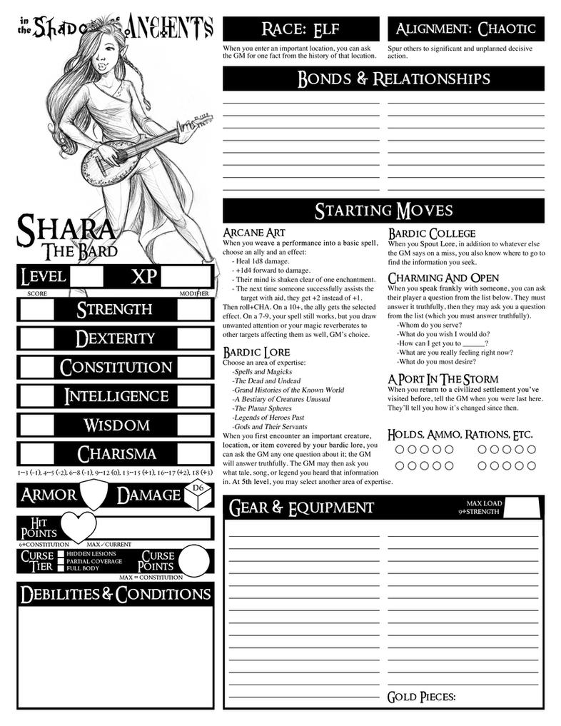 Custom Character Sheet Design : Custom dungeon world character sheet the bard by