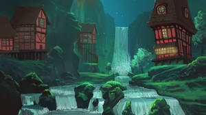 The waterfall village