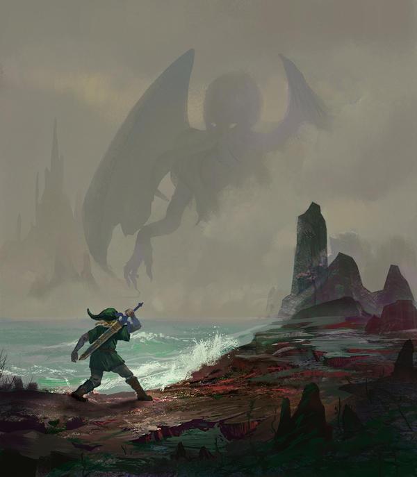 Link in R'lyeh facing a final boss. by fabianrensch