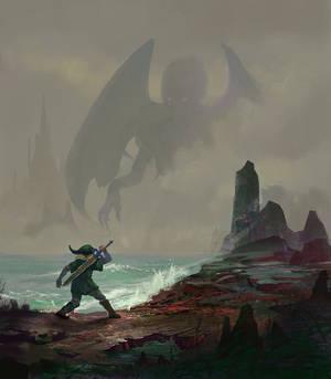 Link in R'lyeh facing a final boss.