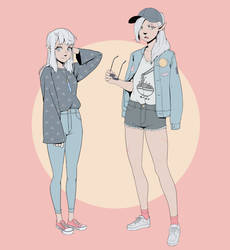 Ayne and Lydia in modern clothes