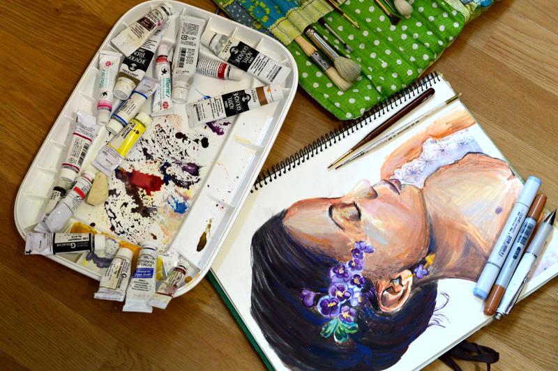 WIP: Garden Portrait: Lilac Kanzashi girl. by smallsmiles