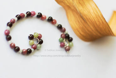 Spring Trio Garnet Ruby burmese jade beads bracele by Soooblue