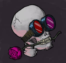 Skull with goggles and rose