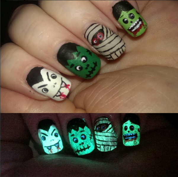 Glow In The Dark Monsters Nail Art By Haffina On Deviantart