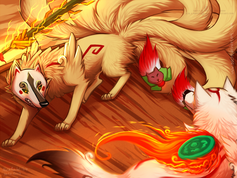 Okami Vs Ninetails by DOLFIY