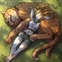 Sleeping with the cat