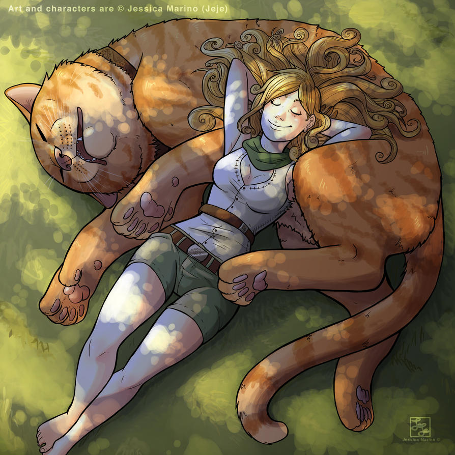 Sleeping with the cat by J-e-J-e