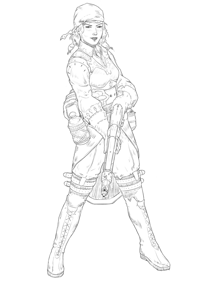 Line Drawing Lady : Pirate lady line art by mikenart on deviantart