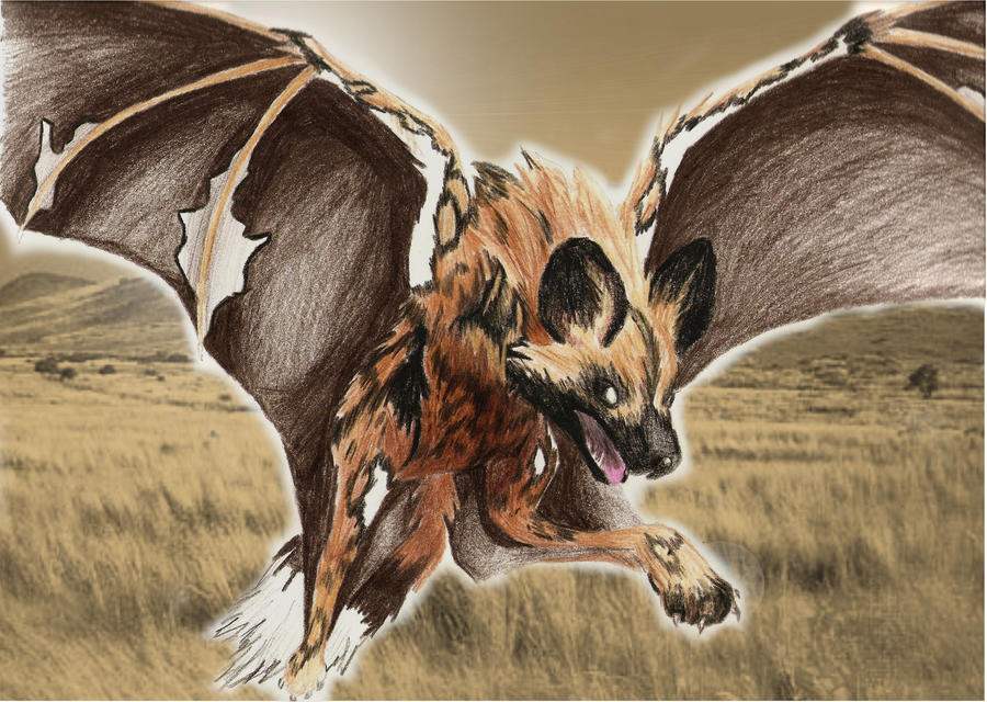Flying Painted Wolf by Ama-Encyclopika