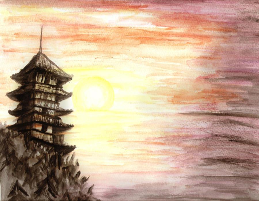 japanese sunset paintings