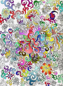 half colored swirls...