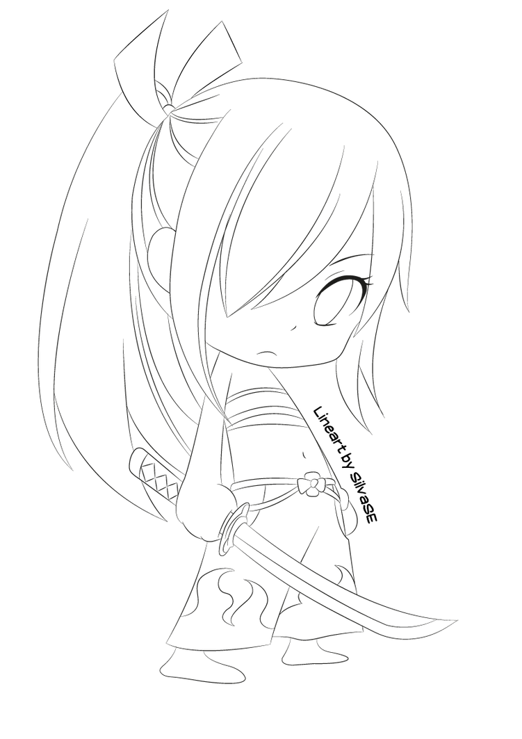 Line Art Painting Images : Chibi erza lineart by silvase on deviantart