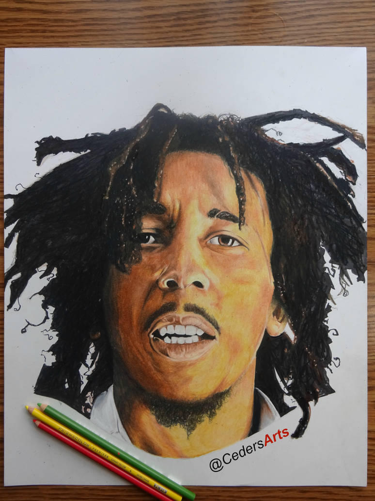 Bob marley color pencil drawing by cedersarts on deviantart