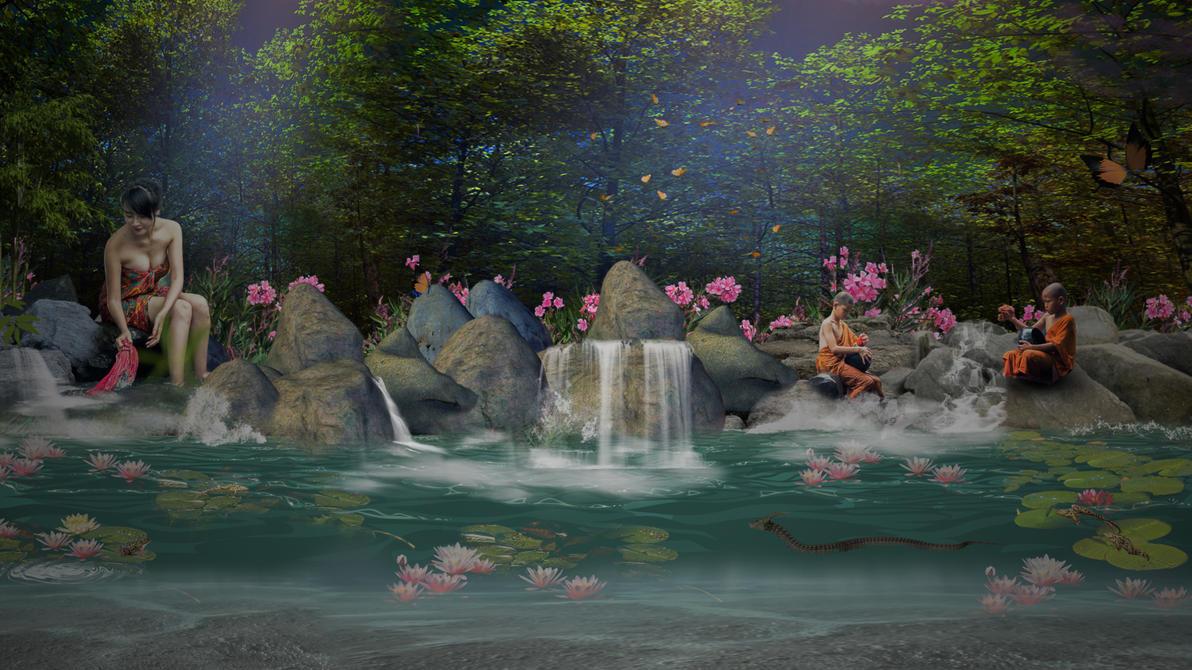 village waterfall by jarryshah
