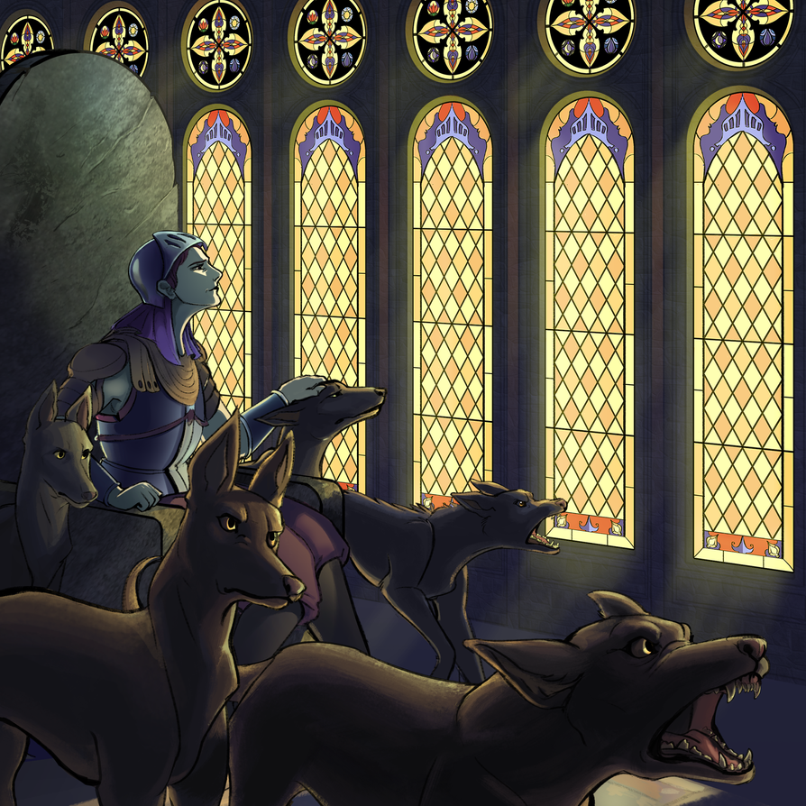Queen Jina and her Dogs by Liaslentak