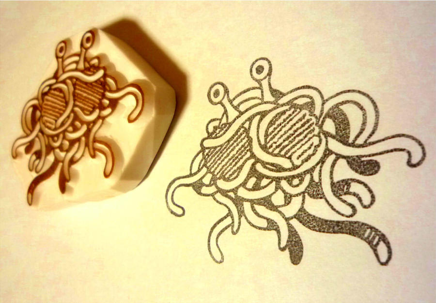 Flying Spaghetti Monster stamp by mukuuji